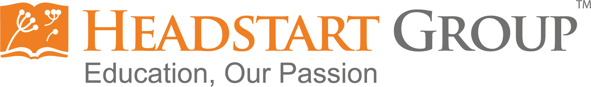 an orange logo of headstart with a grey motto