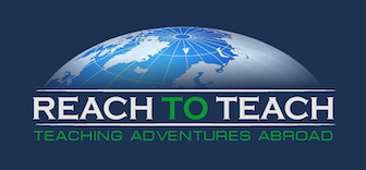 reach to teach blue logo with green letters